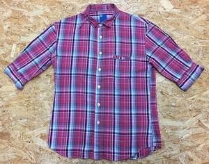 ALSO オルソー Mサイズ メンズ シャツ チェック ポケット シェルボタン 浅襟 半端袖 袖口と襟にワイヤー入り 綿×麻 ピンク×水色×茶など