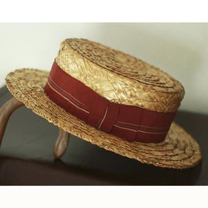 1930s 高級 ビンテージ カンカン帽 6 3/4 1920s 20s 1940s 40s 30s レトロ スーツ アンティーク 麦わら帽子 ストローハット かわいい