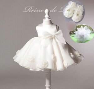 70cm white pearl ribbon baby dress shoes hair ornament set new goods unused