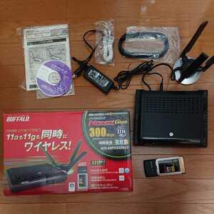 BUFFALO WZR-AMPG300NH/P 無線LAN BBルーター CardBus用無線子機セット アクセスポイント(ブリッジ) 11a/11b/11g同時使用 箱説あり
