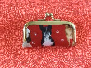 ボストンテリア 犬 犬柄 ハンドメイド がま口 印鑑ケース 多目的ケース