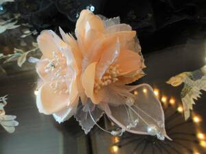 即決 日本製 上品なコサージュ パール ラメ ピンクオレンジ 入学式 結婚式 フォーマル 演奏会 発表会  ④