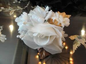 送料無料 日本製 白とゴールドのコサージュ ラメ 入学式 結婚式 フォーマル 演奏会 発表会  ⑤
