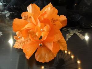送料無料 日本製 オレンジのラメコサージュ 結婚式 二次会 入学式 ⑰ 演奏会 会発表会