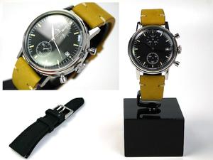 ■本物保証■アンダーン■クロノグラフ 316L メンズ腕時計■替えベルト付■レザー■