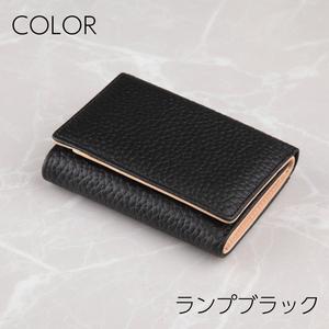 ミニ財布 レディース 本革 三つ折り 財布 ランプブラック◆コンパクト かわいい おしゃれ 小型 小さい 使いやすい 20代 30代 40代 50代