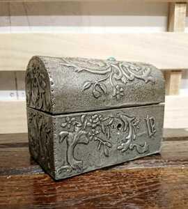 フランス アンティーク エタン 小物入れ 宝箱 天然石 ストーン ブロカント 蚤の市 装飾 インテリア ボックス 植物モチーフ