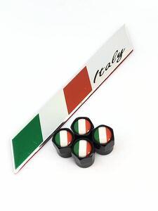 B イタリア 国旗 エアーバルブキャップ フェンダー ステッカー アバルト ABARTH 124 スパイダー 595C 695 フェラーリ Ferrari 360 F430 b
