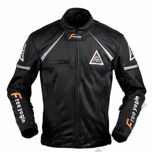 新品!バイクジャケット メンズ ライダースブルゾン レーシング ライディング 通気  メッシュ 通気性優れ プロテクター付き 黒 XL