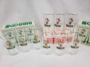 【未使用】サッポロビール 特製リボングラス3個セット 3箱 9個 コップ リボンシトロン リボンオレンジ 昭和レトロ B-867