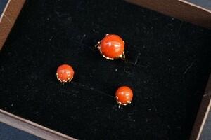 #anzj ring ring earrings 10.5 set 18k coral coral orange coral ladies [313496]