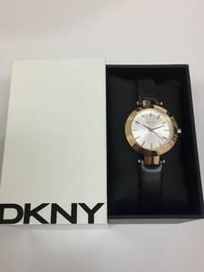 美品!格安!DKNY ディーケーエヌワイ ダナキャラン NY2458 シルバー文字盤 SS ピンクゴールド 革ベルト クォーツ レディース腕時計