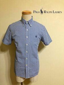 【美品】 Polo Ralph Lauren CLASSIC FIT ポロ ラルフローレン ボタンダウン ギンガムチェック シャツ トップス サイズS 半袖 青 白