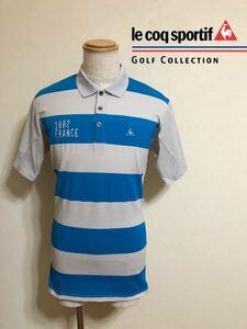 【良品】 le coq sportif GOLF ルコック ゴルフ ボーダー ドライ ポロシャツ トップス ウェア サイズLL 半袖 QG2709 ライトブルー グレー