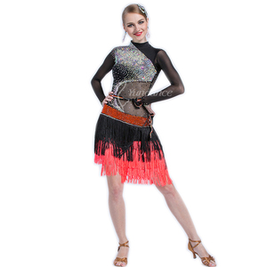高級品新品 レディース社交ダンス ラテンドレスワンピース サイズセミオーダー 競技発表会魅力新作 キラキラ飾り ミックス色
