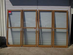 y0-2312 ※鍵なし 引き戸 4枚セット 玄関用 サッシ 建具 網入りガラス 上透明ガラス・下曇りガラス 店舗 倉庫 ガレージ 中古