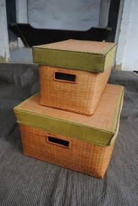 e254 * cover attaching basket / storage box / interior /2 point set /2 size / stylish / cover attaching box