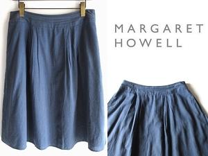 MARGARET HOWELL マーガレットハウエル 裏地付 ソフトメランジコットン タックフレアスカート 3 ネイビーブルー 大きいサイズ 日本製 MHL.