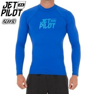 ラッシュガード 送料無料 20%OFF ジェットパイロット JP ロゴ S17 L/S ラッシュ ブルー M 長袖 S17505 マリンスポーツ 水上バイク サップ