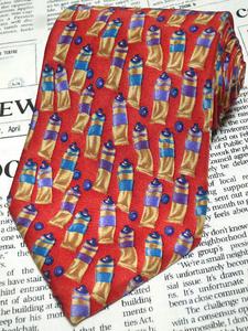 エルメネジルドゼニア Ermenegildo Zegna 良品 ネクタイ シルク100% 絵具 パターン柄 赤系 レッド系 K-005325 ゆうパケット