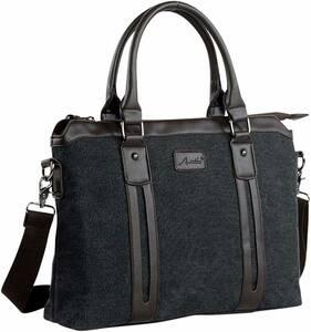 新品 2way メンズ ビジネスバッグ 肩掛け トートバック キャンバス 帆布 ショルダーバッグ ブリーフケース 書類鞄 ブラック 黒