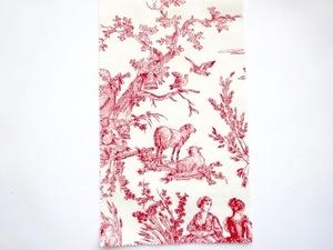 日本未発売 toile de jouy トワルドジュイ柄 生地 白 赤 鳥 羊 ロココ調 19世紀 マリーアントワネット 新品 フランス製 カルトナージュ 14