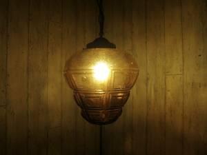 ビンテージ アンバーガラスペンダントランプ ヴィンテージ アンティーク ペンダントライト ランプ インテリア 店舗什器 電気 照明
