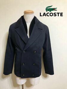 LACOSTE ラコステ 襟リブ Pコート ジャケット アウター トップス 長袖 サイズ3 ネイビー ファブリカ BH9588
