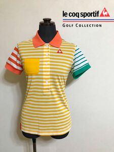 le coq sportif GOLF COLLECTION ルコック ゴルフ レディース ボーダー ドライ ポロシャツ トップス サイズL 半袖 QGL1920 デサント製
