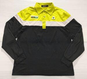 《le coq sportif GOLF ルコックゴルフ》ロゴ刺繍 切替デザイン 長袖 ポロシャツ ライムグリーン×ホワイト×ブラック L