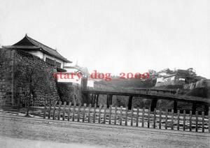 複製復刻 絵葉書/古写真 東京 皇居 二重橋 江戸城 下乗橋 明治期 Y_017