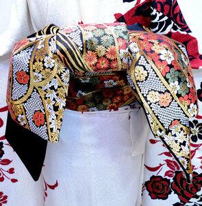 袋帯 正絹 西陣織 花文庫 作り帯 結び帯 新品(株)安田屋 NO32866
