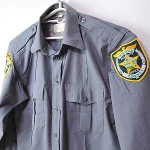 古着●アメリカ保安官/シェリフ 長袖シャツ フロリダ州オカルーサ郡 16.5x34 L相当 ステッチ切れ xwp