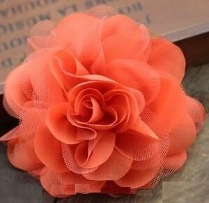 コサージュ ヘアアクセサリー ふんわり バラのシフォン (オレンジ)