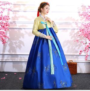 コスプレ チマチョゴリ 民族衣装 韓国風 ラメ スパンコールの装飾 上下2点セット (ブルー)
