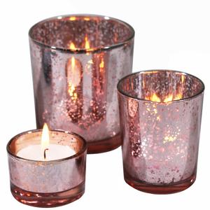 キャンドルホルダー キラキラ ラメ風 ガラス製 大中小3個セット (ピンク)