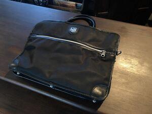 【美品】orobianco オロビアンコ ビジネスバッグ ブリーフケース ショルダーバッグ メンズ 定価5万 ナイロン レザー ブラック