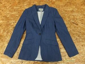 〈レターパック発送〉H&M レディース コットン混 総裏地 カジュアルテーラードジャケット US4 青