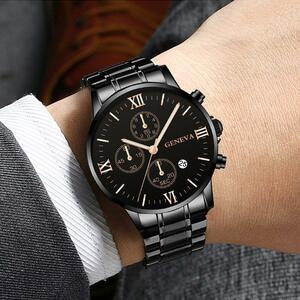 ジュネーブビジネス腕時計高級メンズステンレス鋼男性クォーツ時計男性腕時計ミリタリースポーツ時計レロジオ Masculino