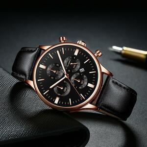 CUENA 男性腕時計ファッションの高級スポーツメンズステンレススチールケースレザーバンドクォーツアナログ腕時計レロジオ Masculino