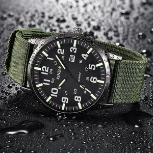 男性ボーイラウンドダイヤルストラップバンド腕時計ミリタリーキャンバスカレンダー軍日クォーツ腕時計防水レロジオ Masculino Q