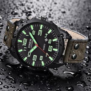 Xinew 腕時計メンズレザーストラップシンプルなカレンダー発光ダイヤル屋外メンズクォーツ時計メンズクォーツ時計レロジオ masculino