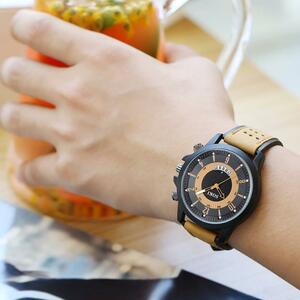 メンズ腕時計 2019 ソーキファッションビッグダイヤルカレンダースクラブベルトメンズ腕時計メンズミリタリー腕時計レロジオ masculino レ
