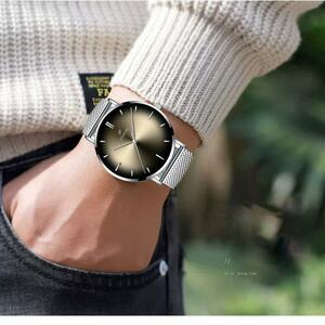 高級メンズ腕時計ステンレス鋼薄板腕時計メンズクォーツ腕時計カジュアルメッシュストラップスポーツウォッチ時計 2020