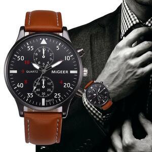 レトロユニークなクォーツ男性腕時計革クロノグラフ軍ミリタリースポーツ腕時計時計男性ビジネスレロジオmasculinoリロイ# d