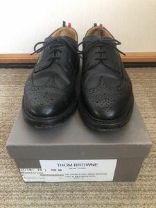 THOM BROWNE【トムブラウン】 MFD002AP5210 トリコロール ウイングチップレザーシューズ サイズ8 ブラック