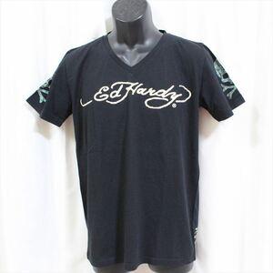 エドハーディー ED HARDY メンズ半袖Tシャツ ブラック Mサイズ 新品 袖スカル 黒