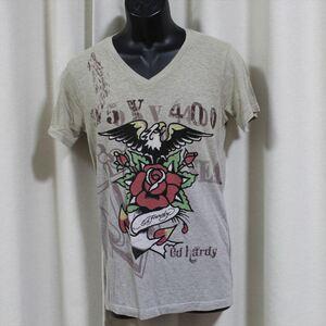 エドハーディー ED HARDY メンズ半袖Tシャツ グレー Sサイズ 新品 Vネック EAGLE ANCHOR