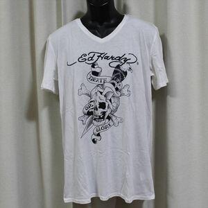 エドハーディー ED HARDY メンズ半袖Tシャツ ホワイト XLサイズ NO45 新品 Vネック