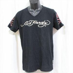 エドハーディー ED HARDY メンズ半袖Tシャツ ブラック Mサイズ 新品 黒 Vネック M02BMV554